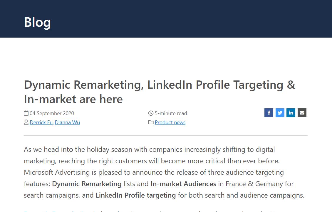 Microsoft Advertising、LinkedIn Profile、動的リマーケティング、市場オーディエンスのターゲティングを拡大